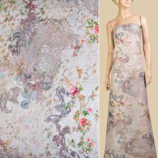 """Батист """"Apanage"""" перловий в рожево-зелені квіти та візерунки ш.145 оптом"""