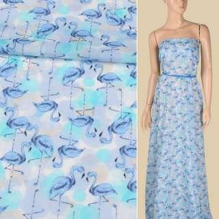 Батист сиренево-голубой, голубые фламинго, ш.150 оптом