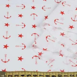 Коттон стрейч білий, червоні зірочки, якоря, ш.150 оптом