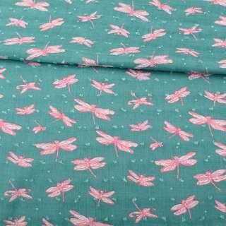 Батист бирюзовый, розовые стрекозы, жаккардовые точки, ш.145 оптом