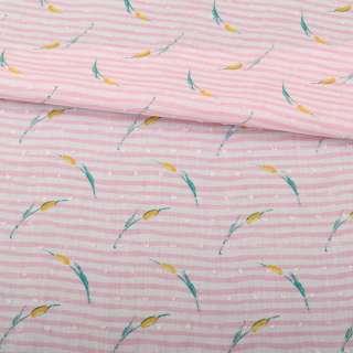 Батист в бело-розовую полоску, желто-зеленые цветы, жаккардовые точки, ш.145 оптом