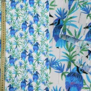 Батист с мережкой белый, синие птички, зеленые ветки, ш.135 оптом