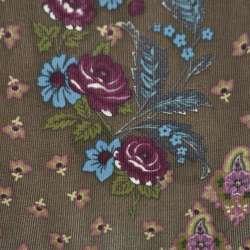 Мікровельвет коричневий з квітковим малюнком оптом