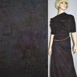 Мікровельвет коричневий темний з абстрактним малюнком, ш.142 оптом