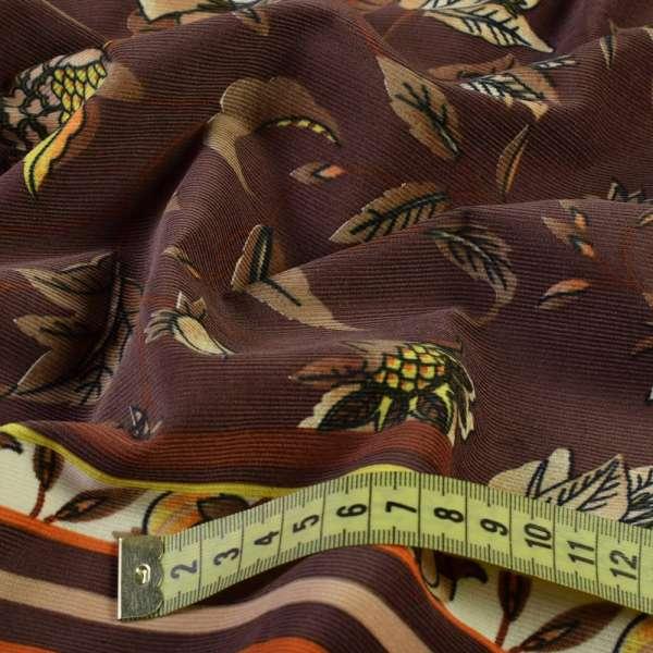 Микровельвет коричневый с желто-оранжевым орнаментом купон, ш.140 оптом