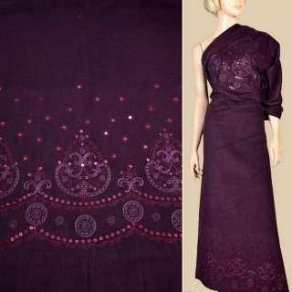 Микровельвет стрейч фиолетовый с вышивкой и пайетками, раппорт 102 см, ш.140 оптом