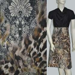 "Велюр коричнево-бежевый ""леопард"" с цветами ш.140"