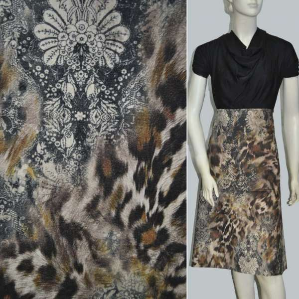 "Велюр коричнево-бежевый ""леопард"" с цветами ш.140 оптом"