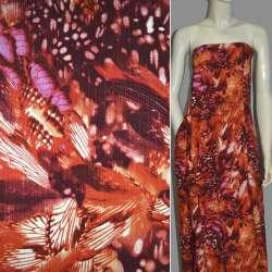 Вискоза оранжево-бордовая с абстрактным рисунком оптом