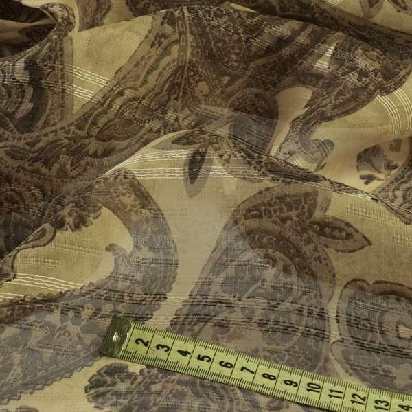 Вискоза бежевая с шелковой нитью, коричневый цветочный узор, ш.140 оптом