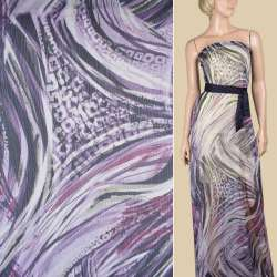 Вискоза жатая сиреневая в фиолетово-серый абстрактный рисунок, ш.148 оптом