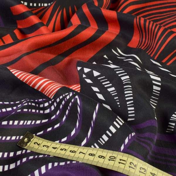 Вискоза в красно-черные, фиолетовые волны, раппорт 120 см, ш.150 оптом