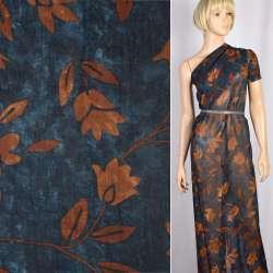 Вискоза синяя в коричневые цветы, листья, ш.140 оптом