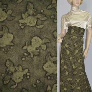 Ткань блуз т/зеленая с абстр. рисунком ш.136 оптом