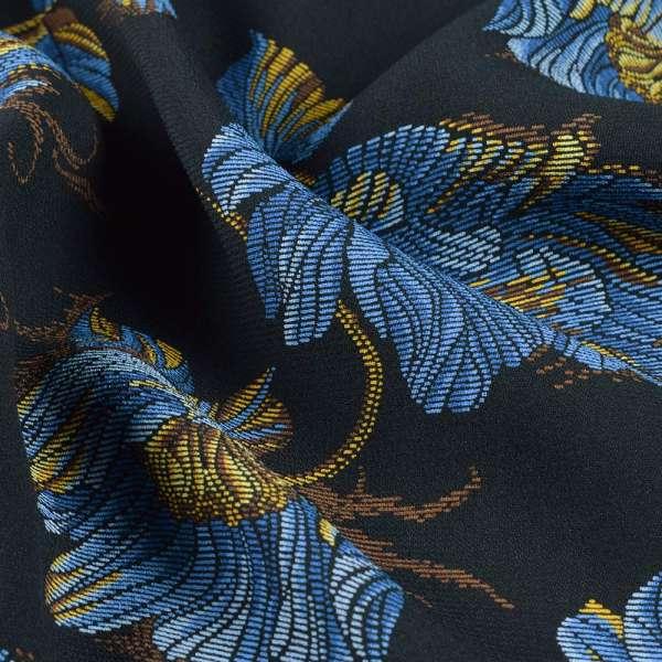 Креп вискозный черный с сине-желтыми цветами ш.145 оптом