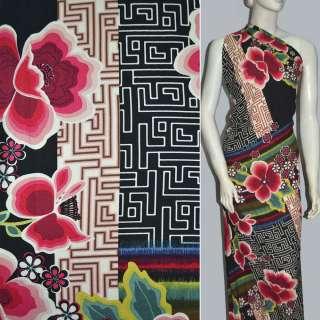 вискоза черная в крас.цветы и разноцвет. полосы ш.143 оптом
