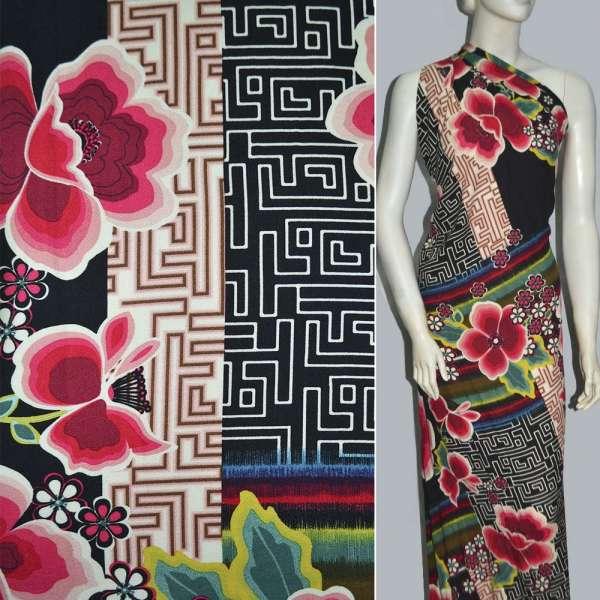Вискоза черная в красные цветы и разноцветные полосы ш.143 оптом