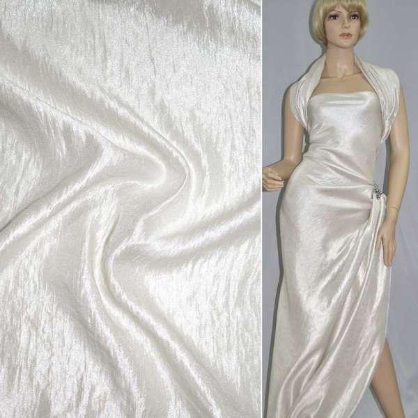 Вискоза костюмная молочная с органзой ш.138 см оптом