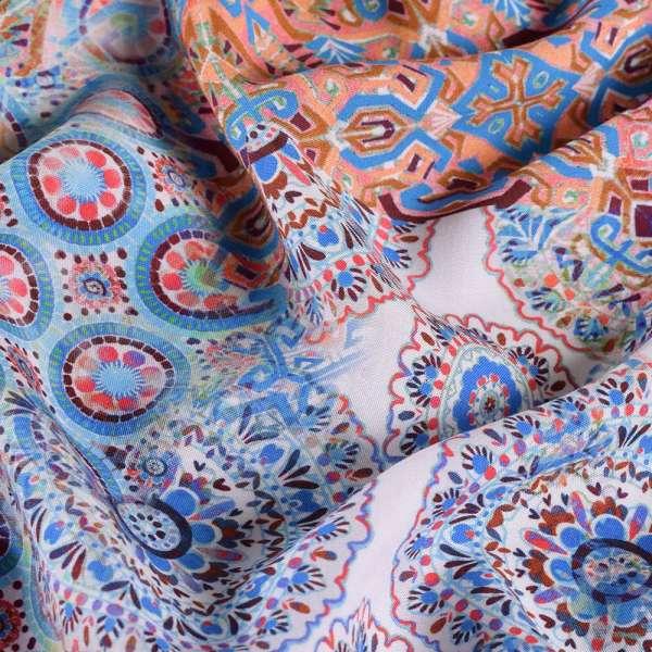 Вискоза Apanage голубой в розово-сине-терракотовый калейдоскоп ш.140 оптом