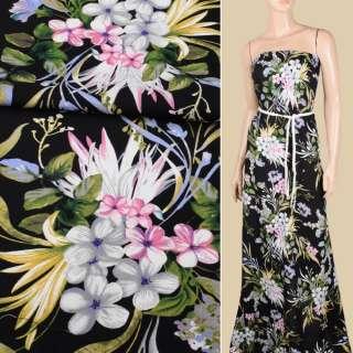 Віскоза чорна, рожеві, сірі квіти, оливкове листя, ш.145 оптом