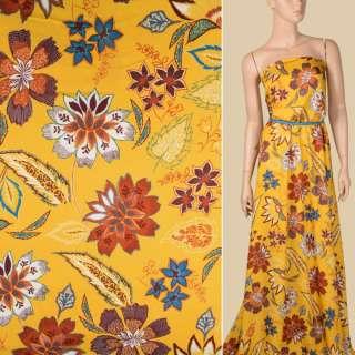 Віскоза жовта яскрава, коричневі, білі квіти, листя, ш.146 оптом