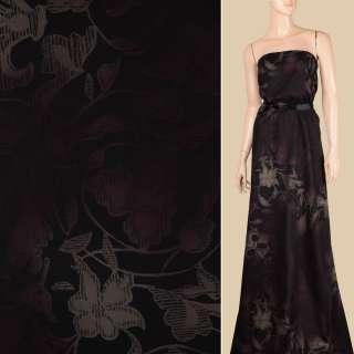 Вискоза черная в оливково-коричневые цветы, ш.143 оптом
