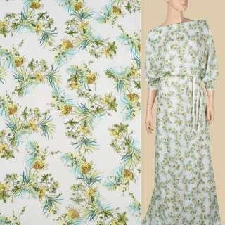 Віскоза біла в жовті, зелені квіти і листя, ш.140 оптом