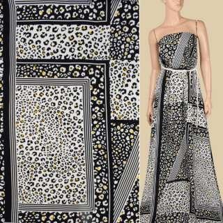 Креп віскозний в чорно-білі квадрати з леопардовим принтом, ш.145 оптом