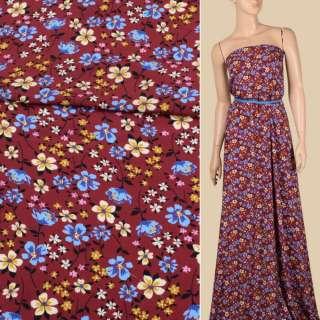 Креп віскозний вишневий, блакитні, кремові квіти, ш.140 оптом