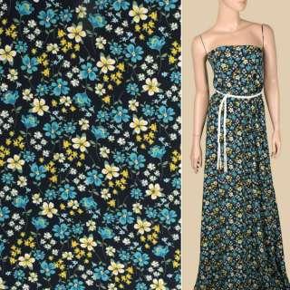 Креп вискозный синий темный, бело-желтые, бирюзовые цветы, ш.140 оптом
