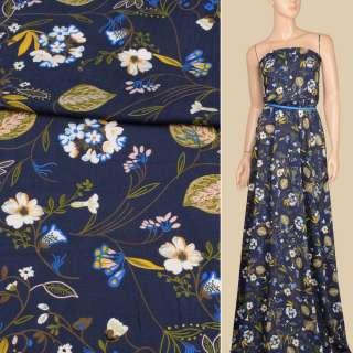 Віскоза синя темна, біло-сині квіти, жовті, оливкове листя, ш.140 оптом