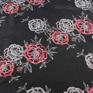 Вискоза серая темная, принт вышитые розы, ш.145 оптом