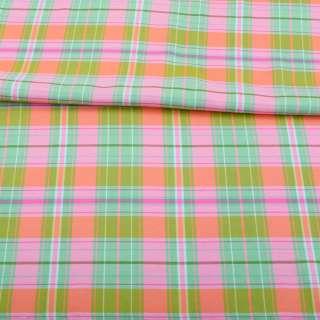 Віскоза в рожево-зелено-помаранчеву клітку, ш.143 оптом