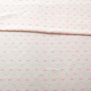 Вискоза молочно-бежевая, розовые, золотистые жаккардовые точки с ресничками, ш.155 оптом