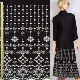Трикотаж дайвинг черный с белой вышивкой купон, ш.146 оптом
