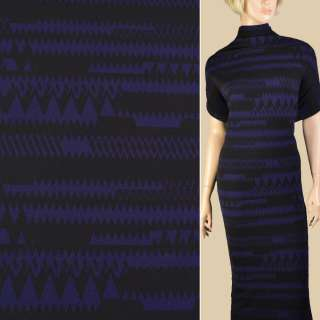 Микродайвинг креп черный с синими зигзагами, ш.150 оптом