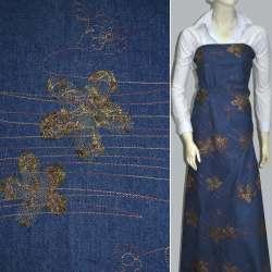 Коттон синий с разноцветной строчкой и коричневыми цветами из сетки оптом