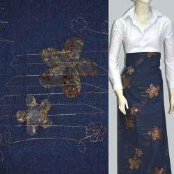 Коттон синий темный с разноцветной строчкой и коричневыми цветами оптом