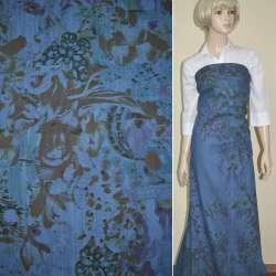 Коттон-джинс сине-голубой с рисунком (принт) ш.160 оптом