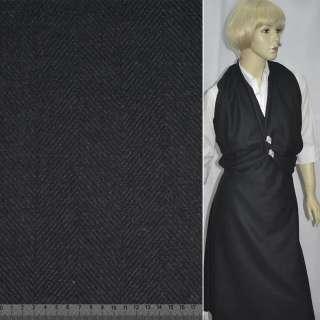 """ткань пальтовая черная в """"елочку"""" ш.150 см. оптом"""