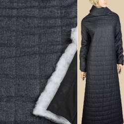 Шерсть твид синий, стеганая синтепоном полоса 5см, подкладка черный трикотаж ш.150 оптом