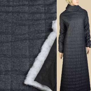 Шерсть твід синій, стьобана синтепоном смуга 5см, підкладка чорний трикотаж ш.150 оптом
