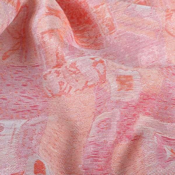 Жаккард розово-оранжевый с серебристым люрексом оптом