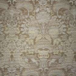 жаккард светло-коричневый с серебристыми цветами оптом