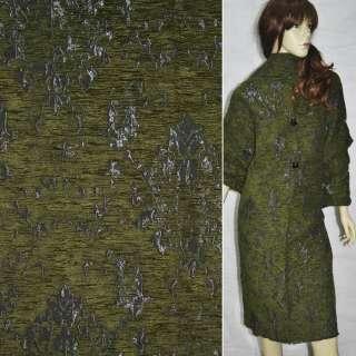 Фукра пальтовая серая с зеленым рис. ш.150 оптом