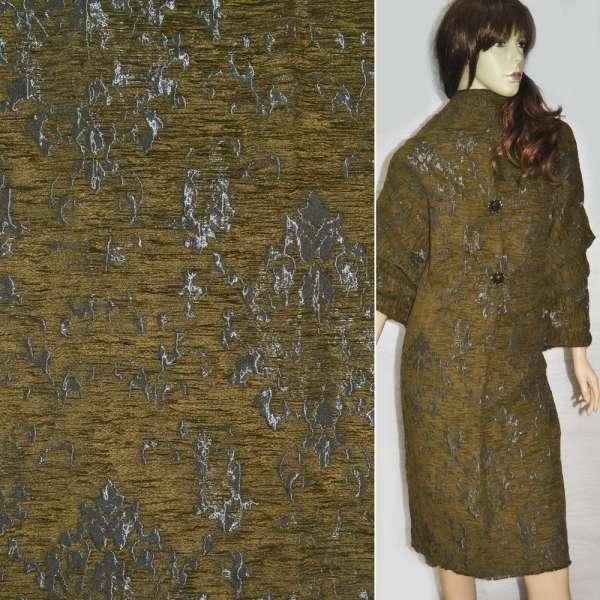 Фукра пальтовая серая с горчичным рисунком ш.140 оптом