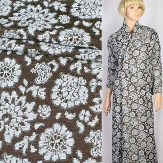 Ткань костюмная коричневая в голубые шенилловые цветы, ш.150 оптом