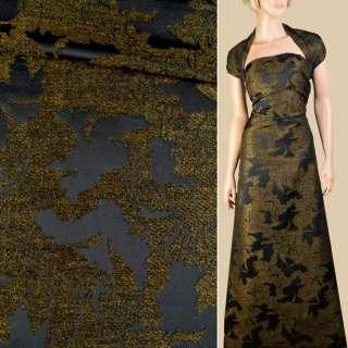 Жаккард с ворсовой нитью черный в оливковые цветы, ш.145 оптом