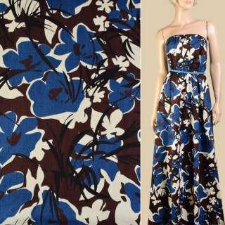 Коттон жаккардовый синий в молочно-коричневые цветы, ш.142 оптом