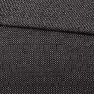 Жаккард стрейч чорний в коричневу точку з метанітью ш.153 оптом